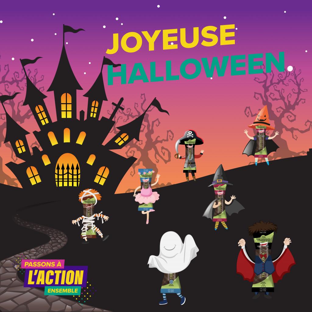 Images de minis-bâtons de chocolat déguisés en costumes ludiques de l'Halloween